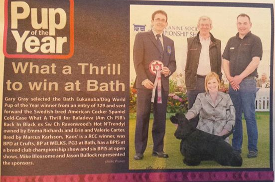 Judge: Gary Gray (Puppy stakes final) and the sponsors! (Dog wold magazine UK)