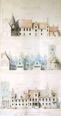 Forslag til ombyggning. Tegning af Prof. Helgo Zettervall år 1872 Photo: G. Strandh