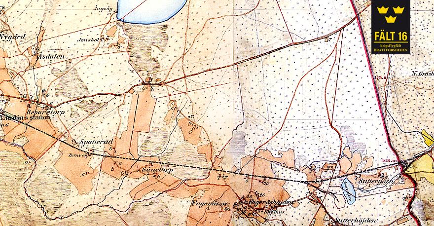 Karta över södra delen av Brattforsheden där Krigsflygfält 16 skulle komma att anläggas. Ekonomisk karta från 1895.