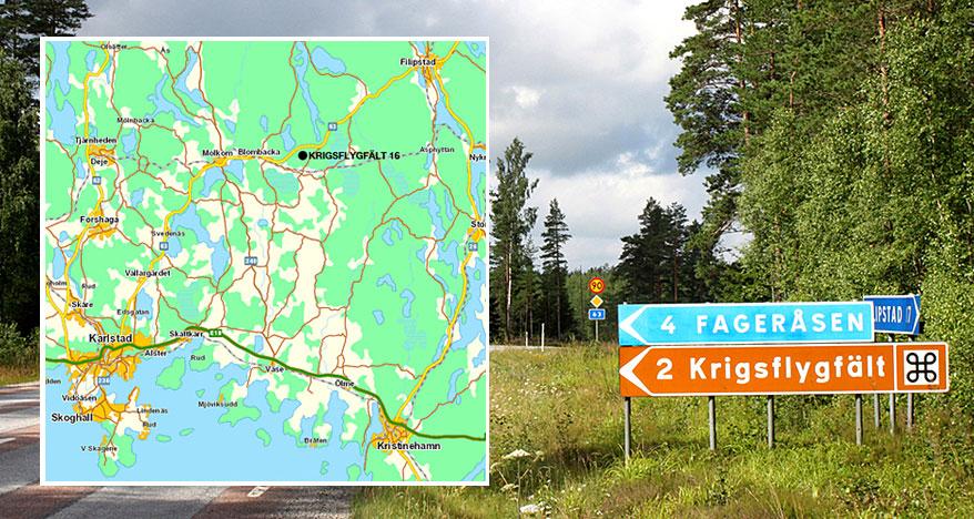 Vägvisningsskylt till kulturreservat Krigsflygfält 16 vid väg 63. Foto © Stiftelsen Krigsflygfält 16