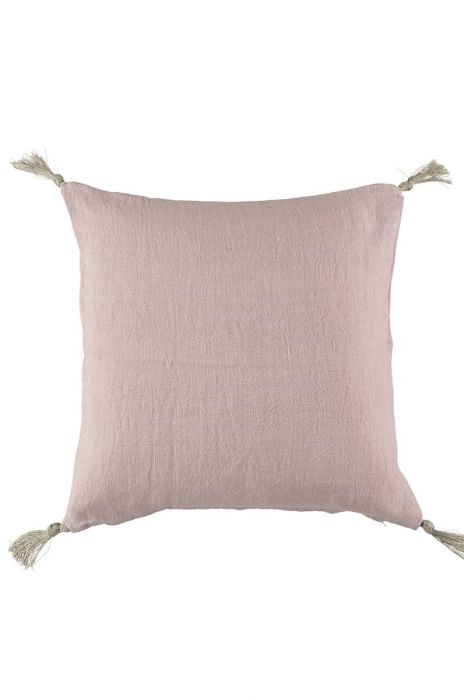 Kuddfodral i linne m tofsar pink liliac