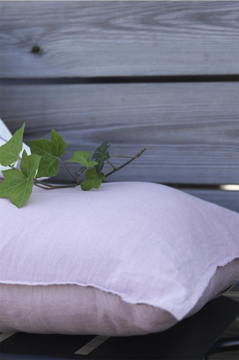 Kuddforal tvättad linne rosa 40x60cm