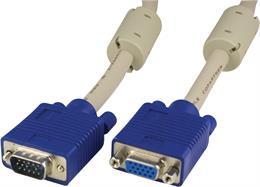 DELTACO förlängningskabel RGB HD15ha-ho 5m,utan pin9, grå
