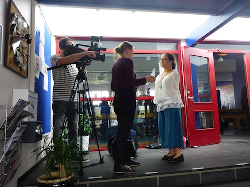The Faroese television news crew came and did an interview (see above) before I met senior high school students in Torshavn (see below)