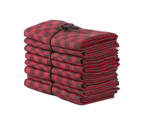 Handduk Schack röd-svart