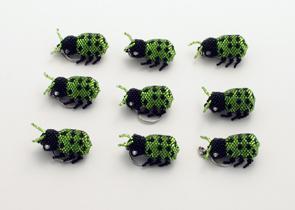 Nyckelring Nyckelpiga grön