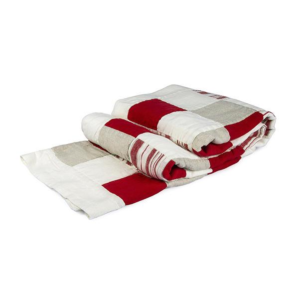 Pläd Lapptäcke Röd-vit