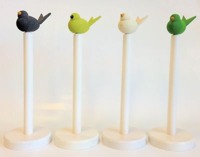 Hushållsrulleställ/Household Paper Roll Stand - Hushållsrulleställ/Household Paper Roll Stand - Vitlaserad/White glazed (Fågel ingår ej/Bird is not included)