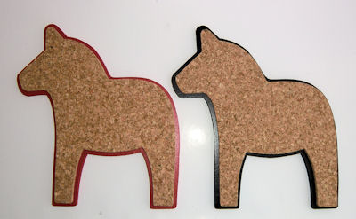 Karottunderlägg/Trivets - Kork/Cork - Dalahäst/Dala Horse Svart/Black