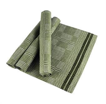 Löpare Domino bladgrön-vit