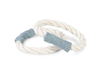 Servettring Rep vit:tyg isblå