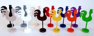 Tupp/Rooster - på fot/on foot - 10 cm Tupp/Rooster - Svart/Black