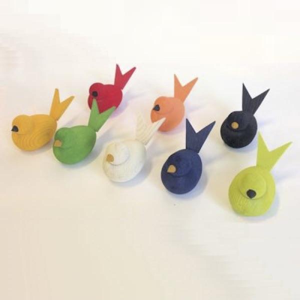 Fåglar i trä - 8 färger