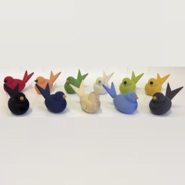 Fåglar i trä - 10 färger
