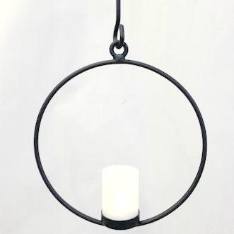 Ljusring - Ø 23 cm Ljusring med glas - Svart
