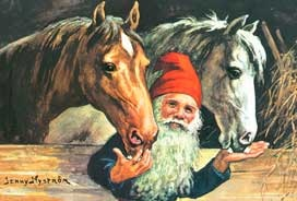 Julkort - Tomten i Stallet -