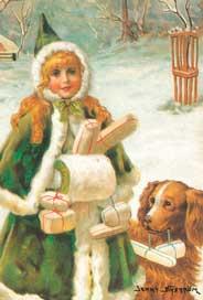 Julkort - Flickan med Paketen -
