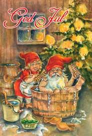 Julkort - Tomtefar & Tomtemor -