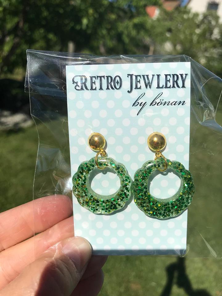 Flower hoops grön glitter