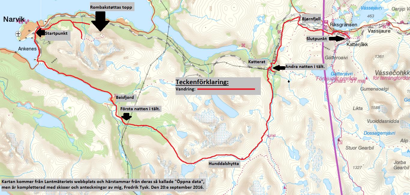 Karta Riksgransen Abisko.En Vandring Fran Narvik Till Katterjakk Via Beisfjord Hunddalshytta