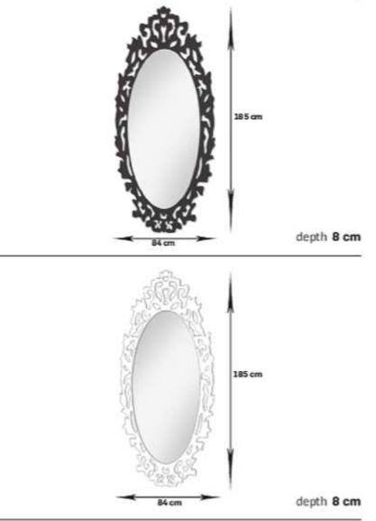 Arbetsspegel King svart eller transparent med LED