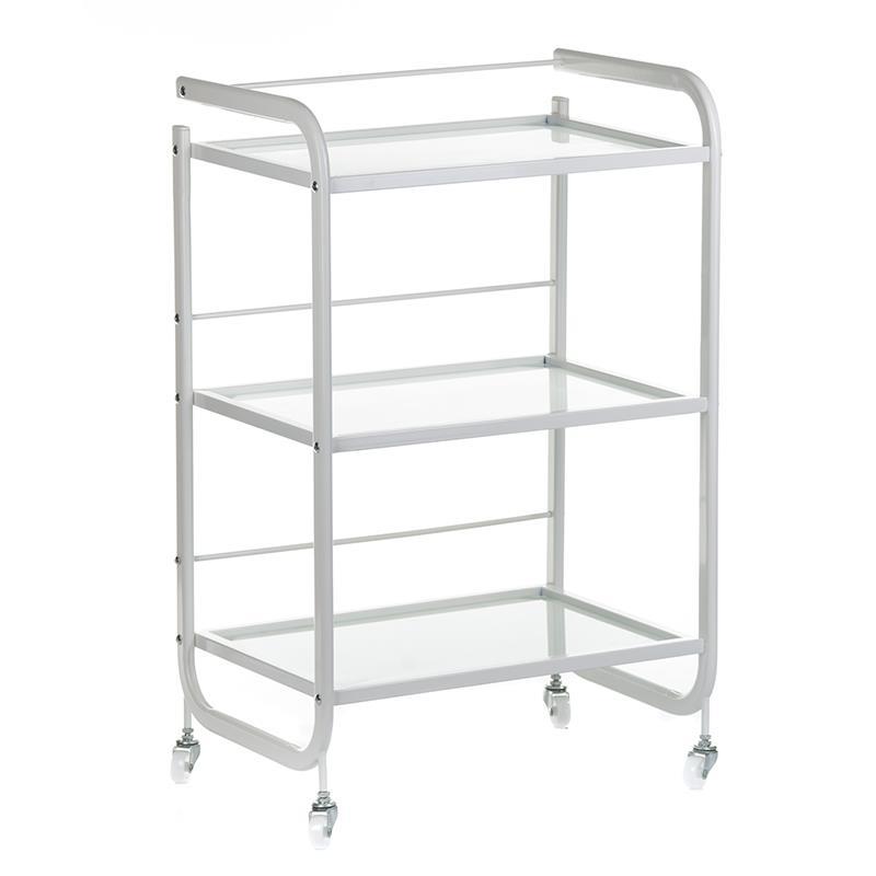 Arbetsbord i vit stål & glas