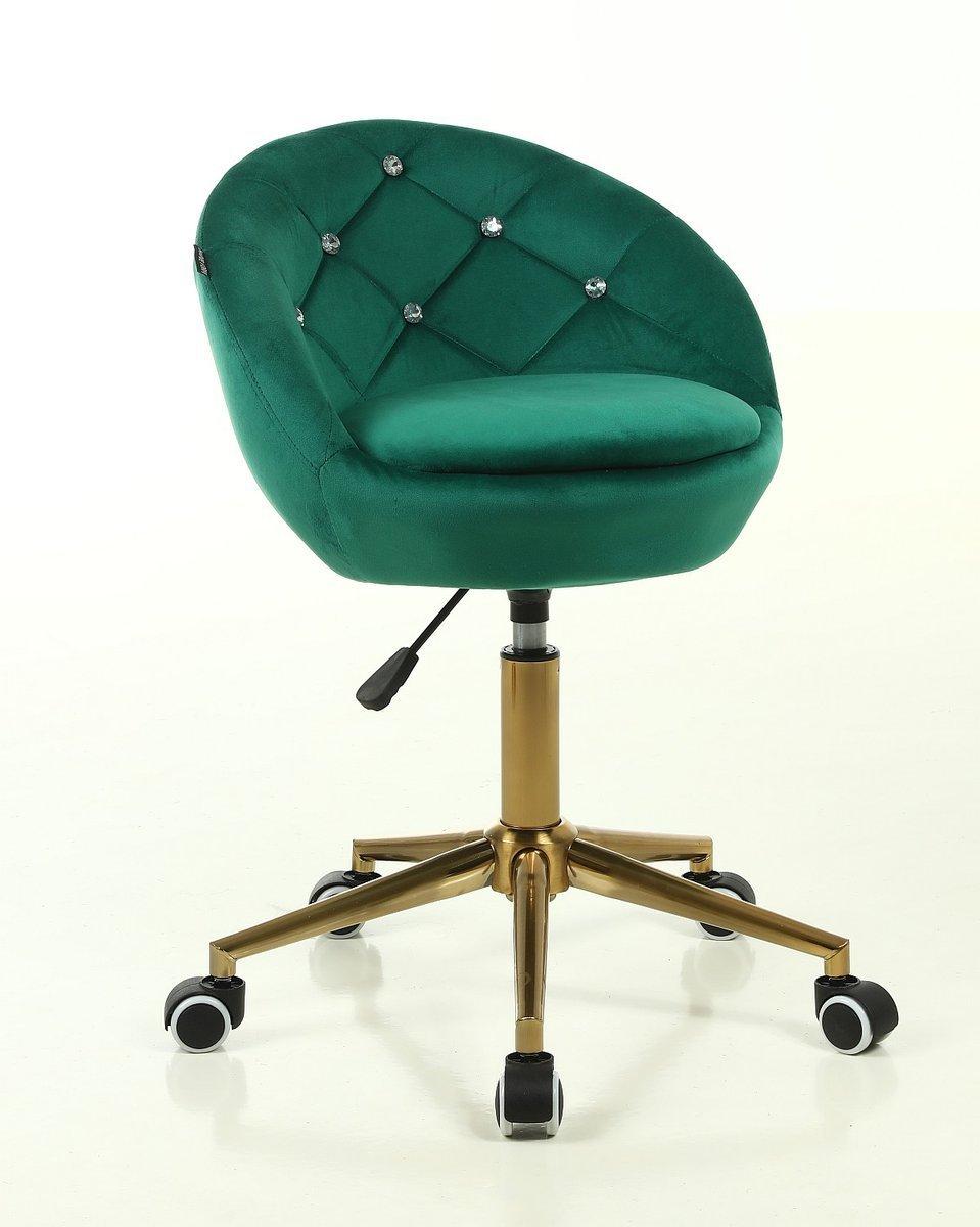 Arbetsstol BAMB med Hjul & Stenar gyllene bas velour i grön 42 - 55 cm