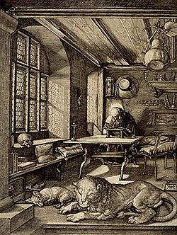 Tõlkija kaitsepühak on kirikuisa ja Piibli tõlkija Hieronymus. Siin on ta oma kambris. Autor Albrecht Dürer (1514).