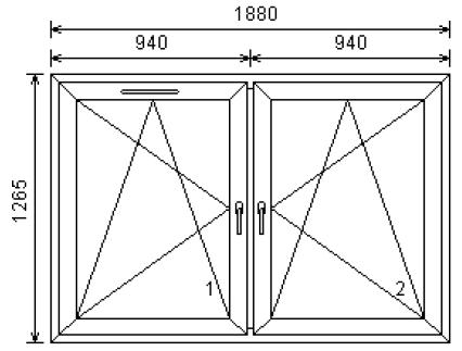 2-luftfönster 19x13 med ventil ritning