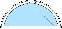 Öppningsbart halvmånefönster med klarglas
