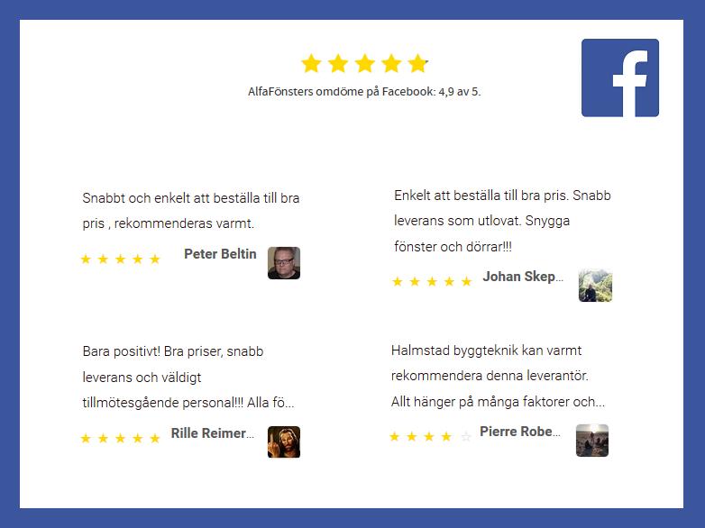 AlfaFönsters recensioner på Facebook. Klicka på bilden för att se alla omdömen.