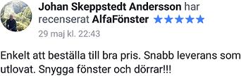 Johans omdöme om AlfaFönster