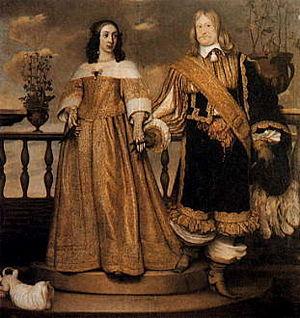 Prinsessan Maria Eufrosyne av Sverige med maken Magnus Gabriel De la Gardie – hennes högre börd markeras genom att maken står ett halvt trappsteg ned (målning: Hendrik Münnichhoven 1653).