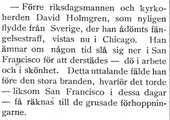 Klipp ur tidningen Vestkusten 1909