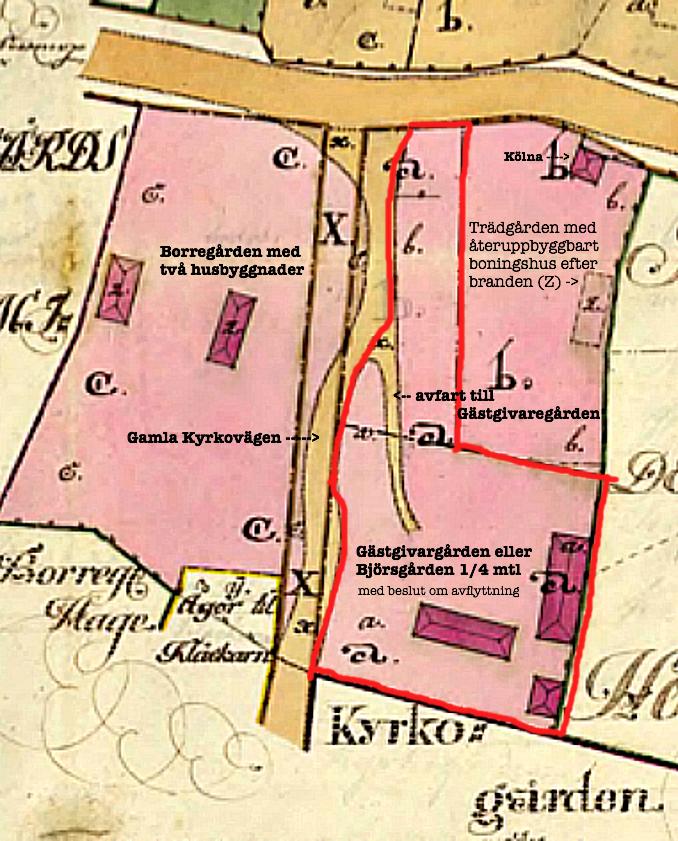 Gästgivaregården markerad med rött- nu beslut om Laga flytt till Piskapung