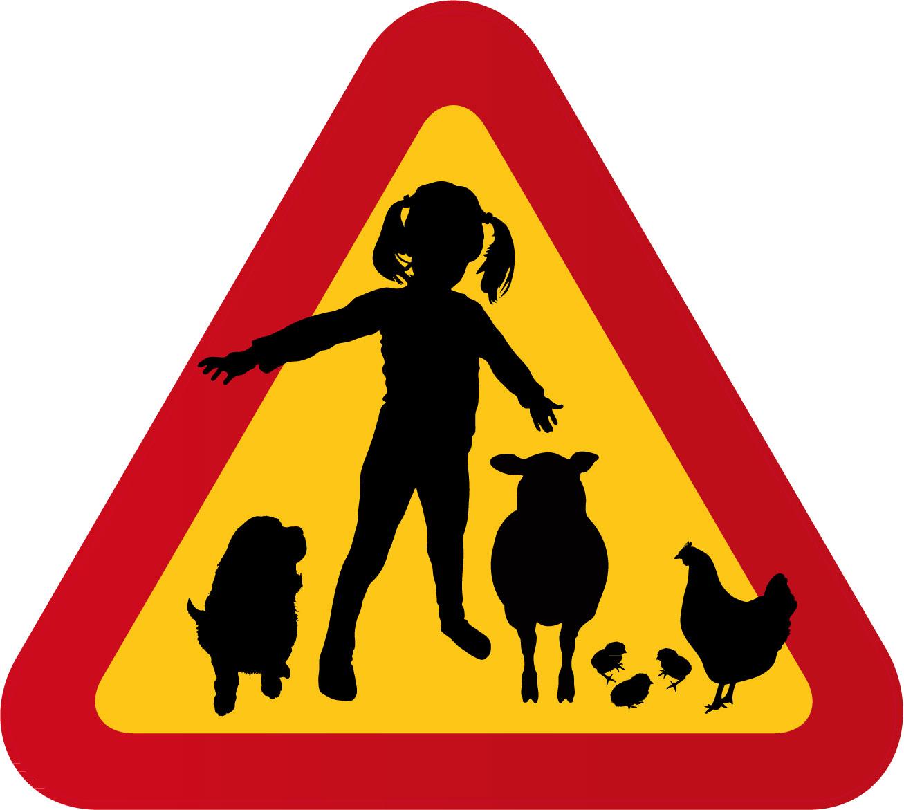 Flicka med hund, får & höna