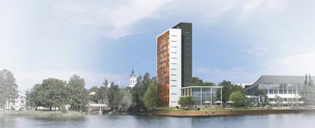 Skiss på det planerade hotellet på Kanaludden. Foto: Härnösands kommun.