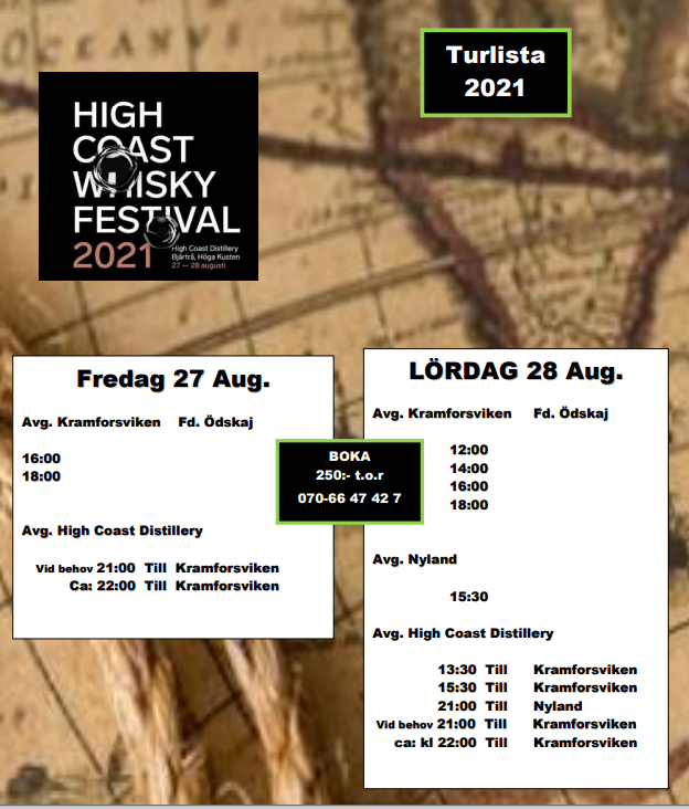 Turlista för High Coast  Whisky Festival 2021
