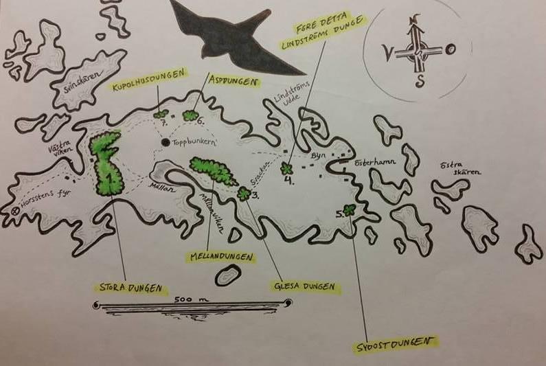 Av kartan framgår olika obs-punkter, bl.a. de dungar där man kan leta efter rastande småfåglar. Klicka på bilden så så ser du den i större format. Karta: Per Åsberg