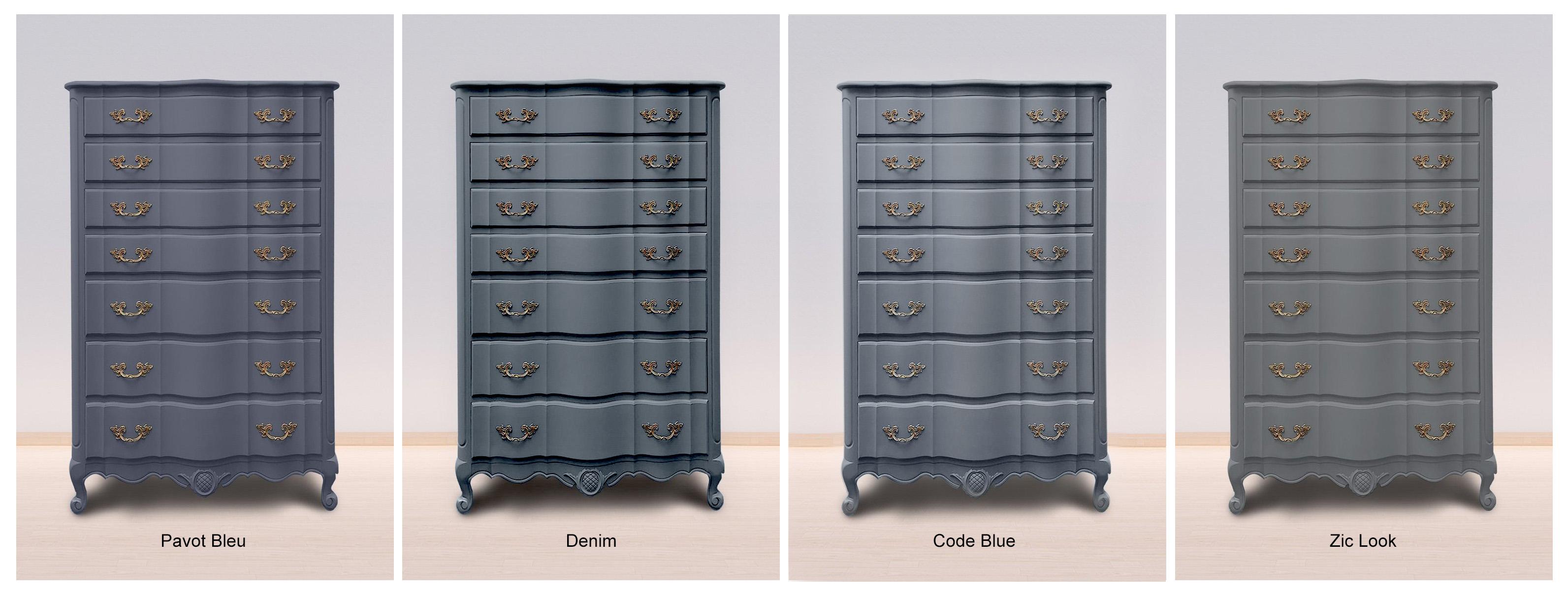Pavot Bleu, Denim, Code Blue & Zinc Look