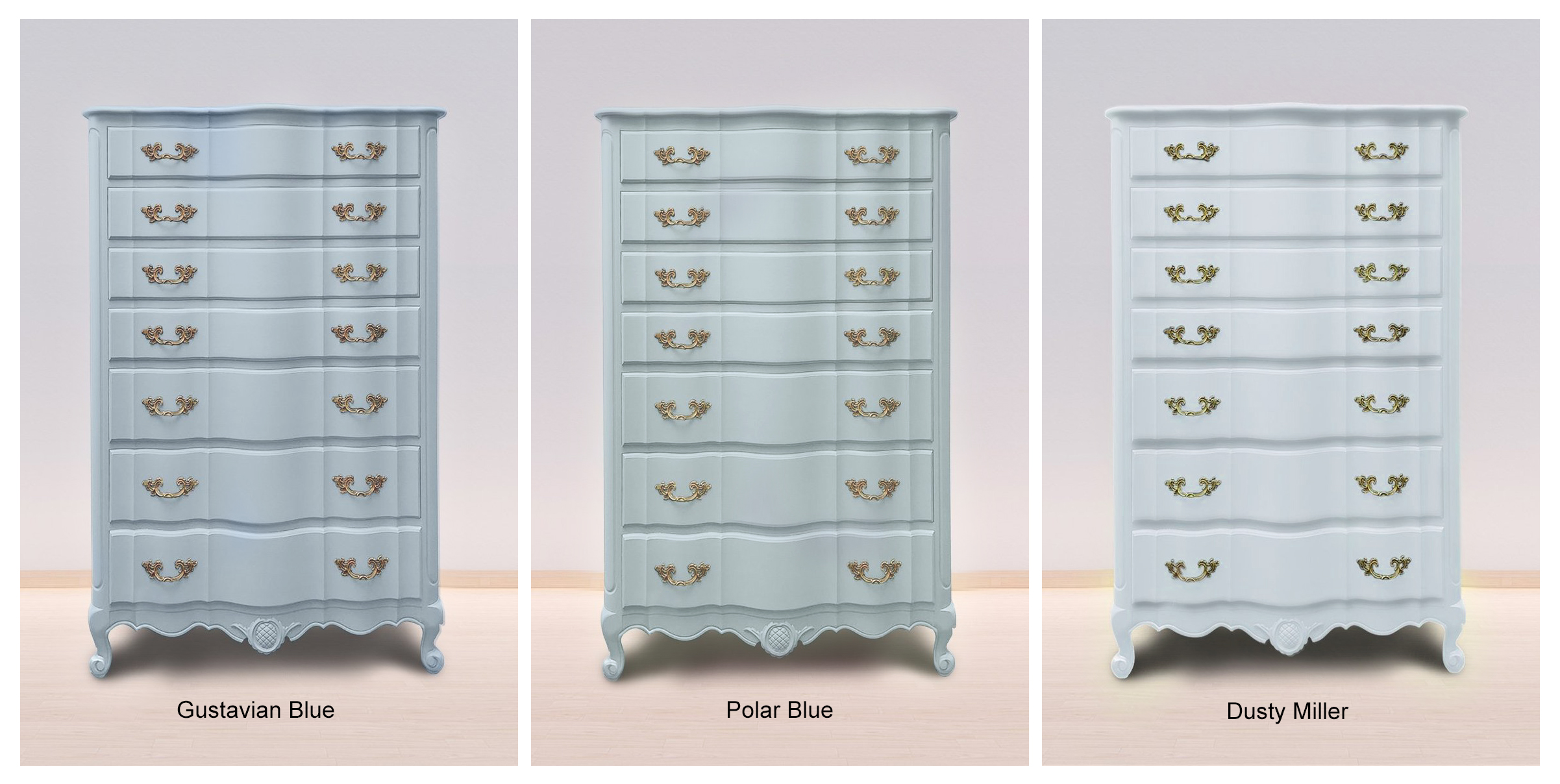 Gustavian Blue, Polar Blue & Dusty Miller