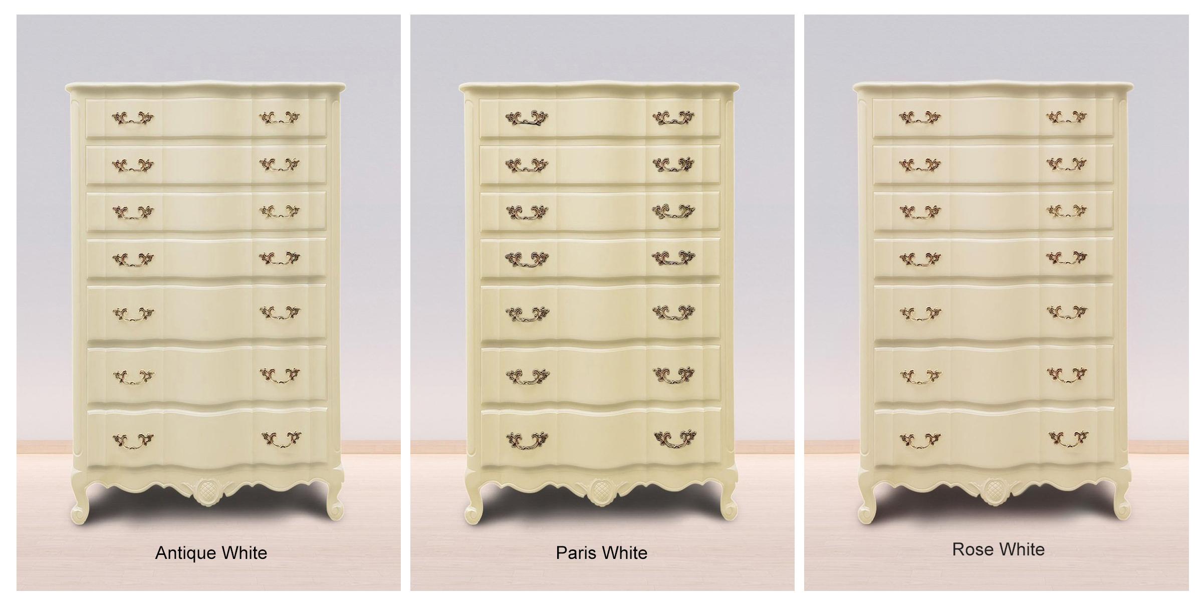 Antique White, Paris White & Rose White