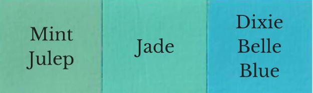 1 Part Mint Julep + 1 Part Dixie Belle Blue = Jade