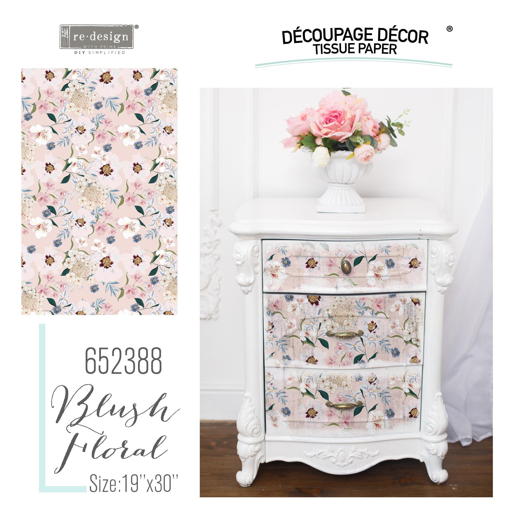 PRIMA Re Design Decoupage Tissue Paper Blush Floral
