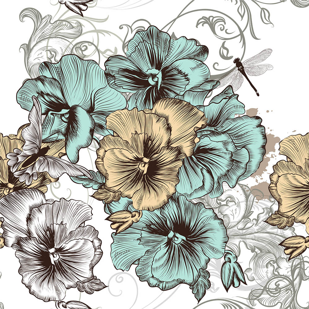 BLUE & YELLOW FLORAL - Belles & Whistles Rice Paper