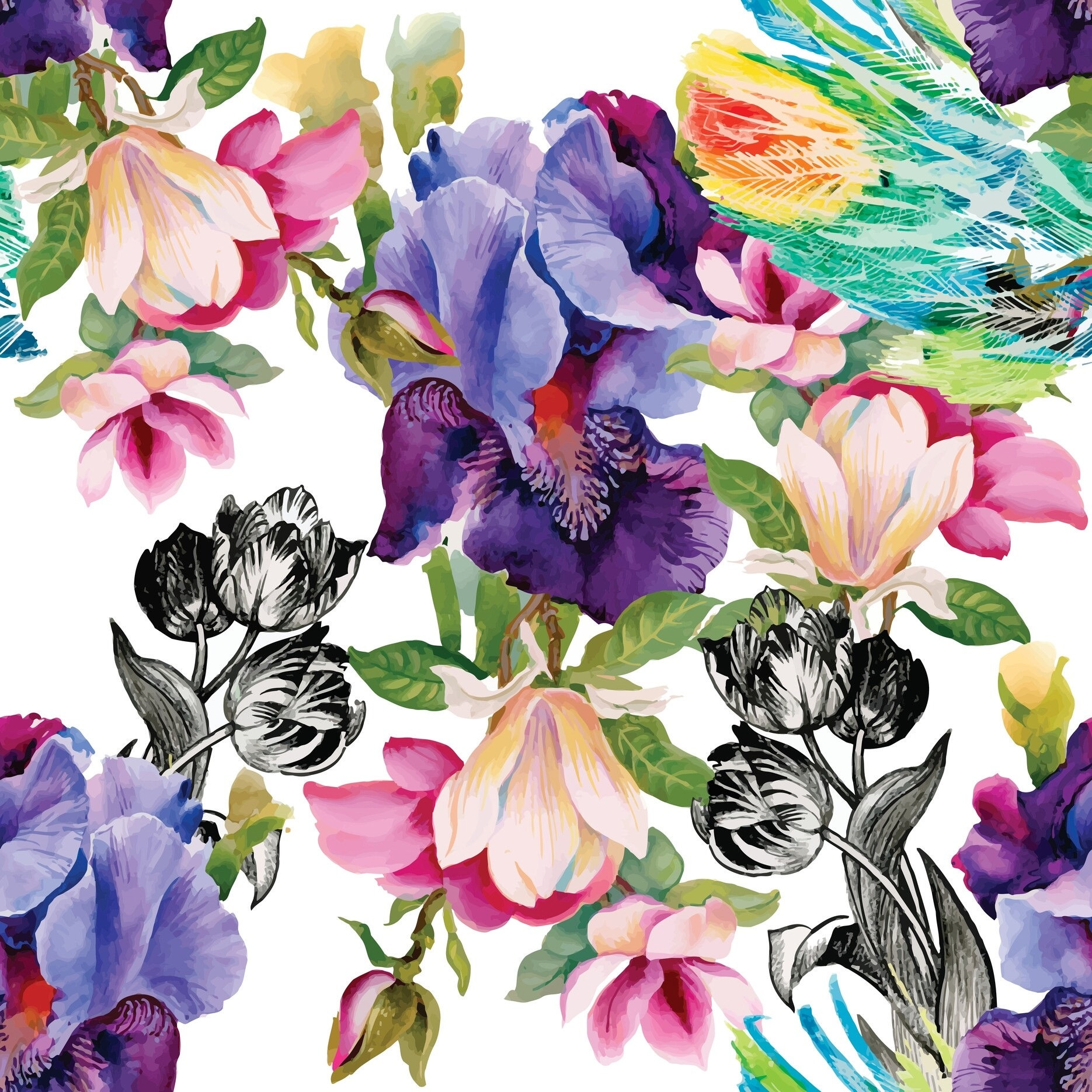 COLORFUL FLORALS Belles & Whistles Rice Papers