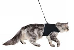 Kattsele mjuk med Koppel, 36_54 cm, 1,20 m, svart  - Kattsele mjuk med Koppel, 36_54 cm, 1,20 m, svart
