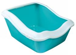 Cleany Cat Kattlåda m kant, 45 x 21 (29) x 54 cm, vit/marinblå  - Cleany Cat Kattlåda m kant, 45 x 21 (29) x 54 cm, vit/marinblå