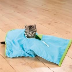 Kattlek Crackle sack, 50 × 38 cm, blå/grön  - Kattlek Crackle sack, 50 × 38 cm, blå/grön