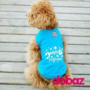 Hund t-shirt Fishing blue & red - Blå S